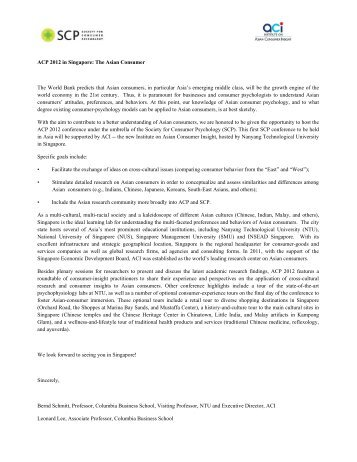 Page 1 ACP 2012 in Singapore: The Asian Consumer The World ...