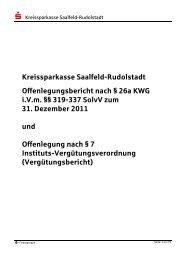 Offenlegungsbericht der Kreissparkasse Saalfeld-Rudolstadt zum ...