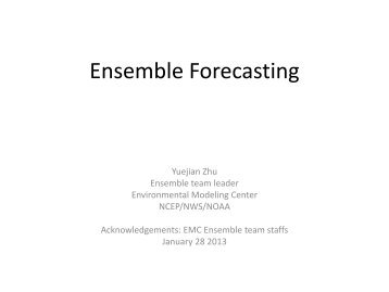 Ensemble Forecasting at NCEP - Weather-Chaos Group
