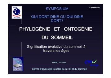 Signification évolutive du sommeil à travers les ... - Institut Danone