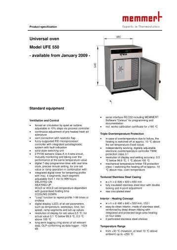 Universal oven Model UFE 550 - available from January 2009 -