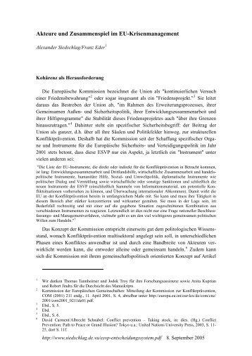 Akteure und Zusammenspiel im EU-Krisenmanagement - European ...