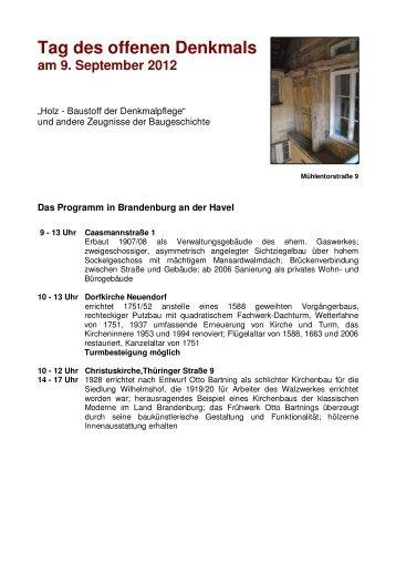 Tag des offenen Denkmals am 9. September 2012 - Brandenburg ...