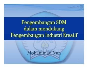 Pengembangan SDM dalam mendukung ... - Indonesia Kreatif