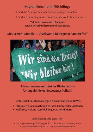 MigrantInnen und Flüchtlinge - Aktion Bleiberecht