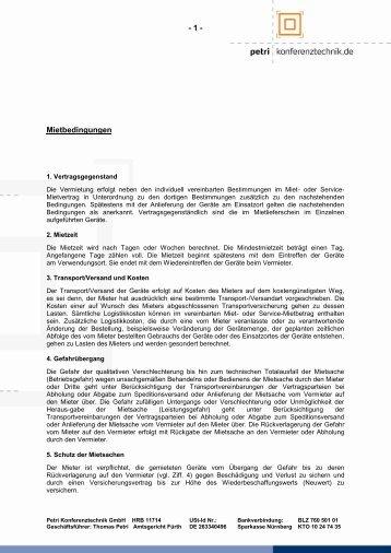 - 1 - Mietbedingungen - Petri Konferenztechnik