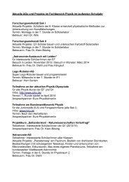 Aktuelle AGs und Projekte im Fachbereich Physik im laufenden ...