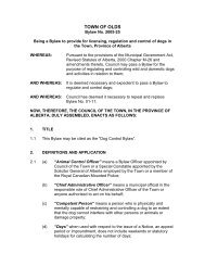 Dog Bylaw 2005-25 - Town of Olds