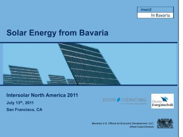 Solar Energy from Bavaria - the Bavarian US Offices for Economic ...