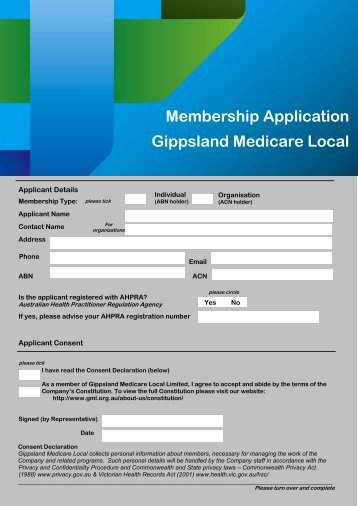 Membership Application Gippsland Medicare Local