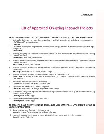 List of Approved On-going Research Projects - IASRI