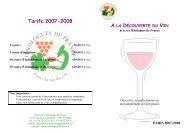 Tarifs 2007-2008 - Union des oenologues de France