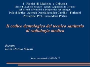 Il Codice Deontologico TSRM - Azienda Ospedaliera S.Camillo ...