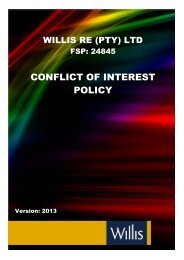 CONFLICT OF INTEREST POLICY - Willis Re