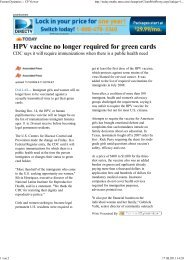 HPV vaccine no longer required for green cards - Zentrum der ...