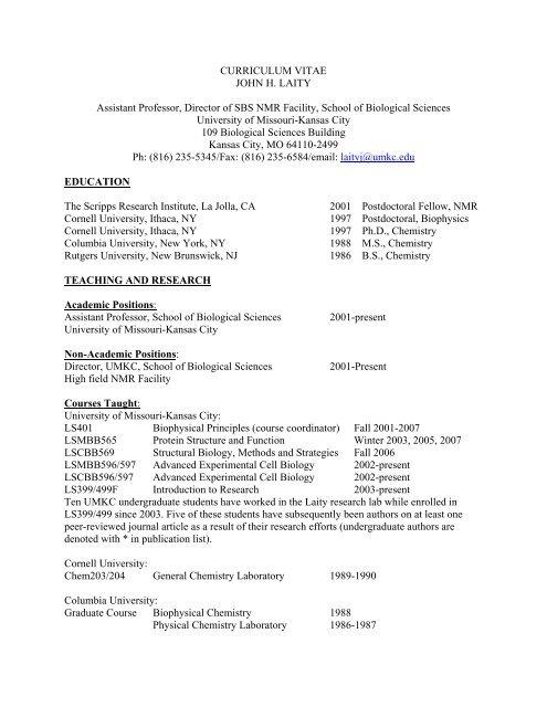 Curriculum Vitae John H Laity Assistant Professor Director