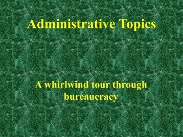 Administrative Topics - CASAP