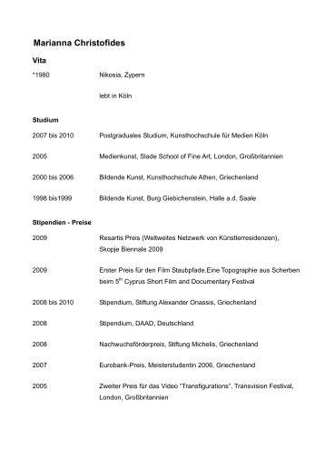 Marianna Christofides - Vita - Stadt Köln