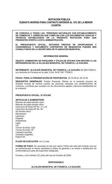 invitación pública subasta inversa para contrato inferior al ... - Fonseca