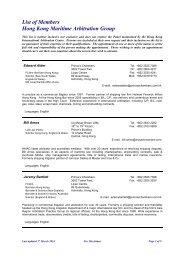 List of Members Hong Kong Maritime Arbitration Group