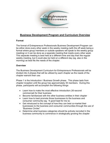 Business Development Program and Curriculum Overview