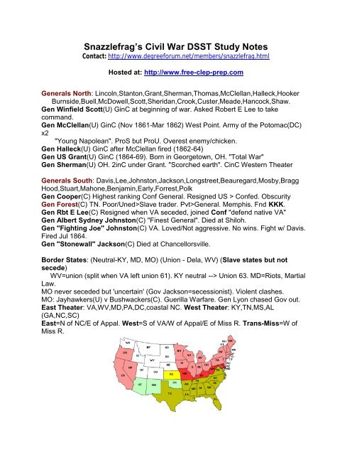 Snazzlefrag's Civil War DSST Study Notes - Free Clep Prep com