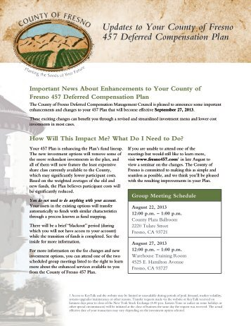 Updates to Your County of Fresno 457 Deferred Compensation Plan