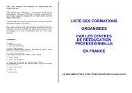liste des formations organisees par les centres de reeducation