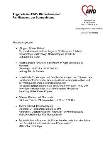 Angebote im AWO- Kinderhaus und Familienzentrum ... - Stadt Kerpen