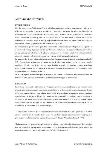 1 ADITIVOS ALIMENTARIOS - Universidad de Cantabria