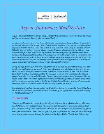 Aspen Snowmass Real Estate