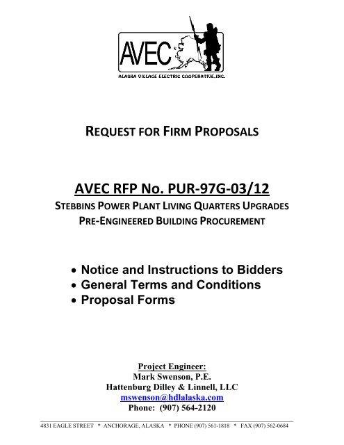 AVEC RFP No  PUR-97G-03/12 - Alaska Village Electric Cooperative
