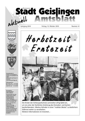 Altmaterial- sammlung Am Samstag den 16 ... - Stadt Geislingen
