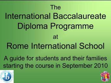 International Baccalaurea Diploma Programme Rome International ...