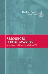 Resources for BC Lawyers - The Law Society of British Columbia