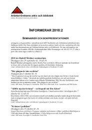 ARAB informerar 2010:1 - Arbetarrörelsens arkiv och bibliotek