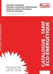 CA TALOGUE - TARIF ÉCO-ÉNERGÉTIQUE - Roth France