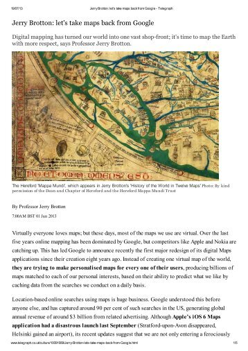 Jerry Brotton: let's take maps back from Google - Factum Arte