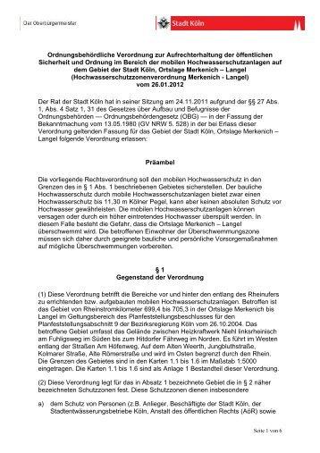Hochwasserschutzzonenverordnung Merkenich ... - Stadt Köln