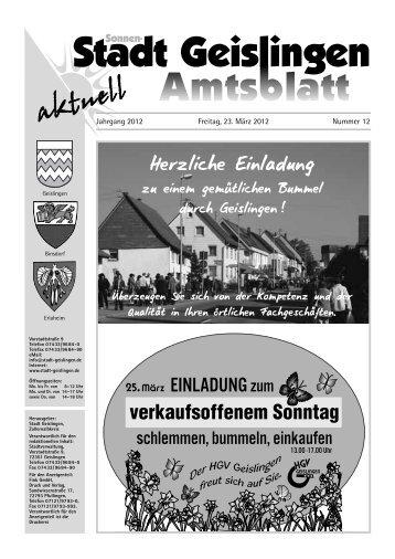 "12. Aktionstag: ""Frühjahrs-Stadtputzete"" am ... - Stadt Geislingen"