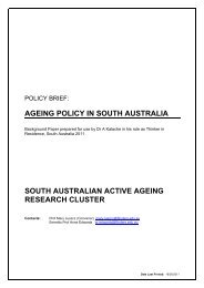 Ageing Policy in South Australia - Adelaide Thinkers in Residence