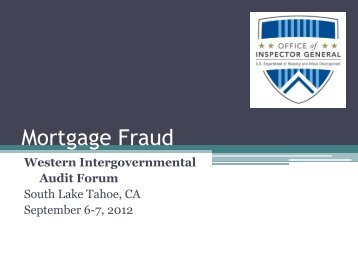 Mortgage Fraud - intergovernmental audit forums
