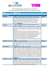 Veranstaltungen Febuar bis Juni 2013