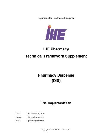 Pharmacy - Profile Supplement - IHE