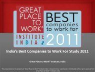 India's Best Companies to Work For Study 2011 - Great Place to ...