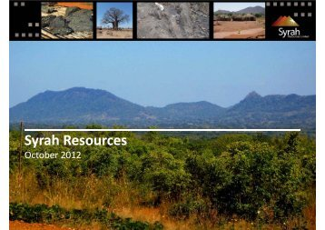 Investor Presentation – October 2012 - Syrah Resources Ltd
