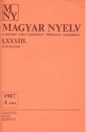 Magyar Nyelv, 1987 - UMIZ