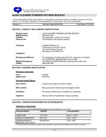 Ajax oxygen bleach cleaner msds sheet