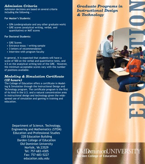 The Instructional Design And Technology Program Darden College