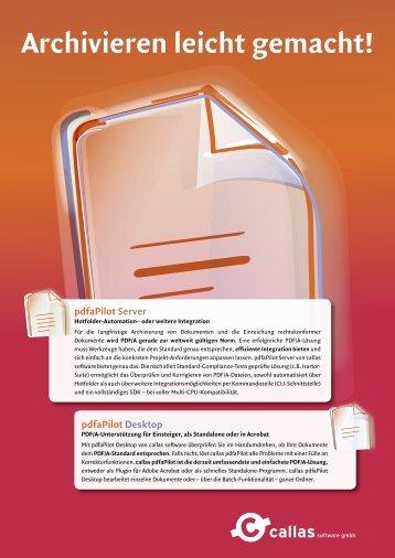 pdfaPilot Desktop - Callas Software